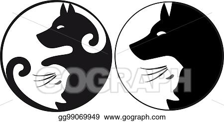 Vector Art Yin Yang Symbol Cat And Dog Vector Clipart Drawing