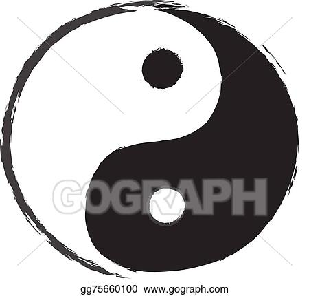 Eps Illustration Yin Yang Symbol Drawing Vector Clipart