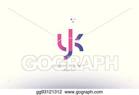 Clip Art Vector Yk Y K Pink Modern Creative Alphabet Letter Logo