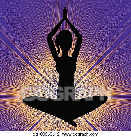 Vector Stock Yoga Banner With Sitting Girl Silhouette Black Figure On Purple Background With Brilliant Yellow Rays Stock Clip Art Gg100353512 Gograph