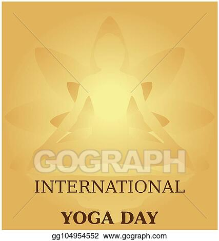 Vector Art Yoga Day Meditation Padmasana Pose Banner Against Golden Lotus Petals With Beautiful Gradient Vector Design Colour On Golden Background Eps Clipart Gg104954552 Gograph