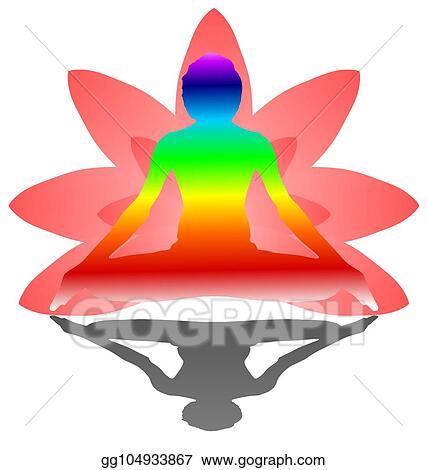 Vector Illustration Yoga Day Meditation Padmasana Pose Banner With Seven Aura Energy Chakra Against Pink Lotus Petals Gradient Vector On White Background Design Red Orange Yellow Green Blue Purple Deep Indigo