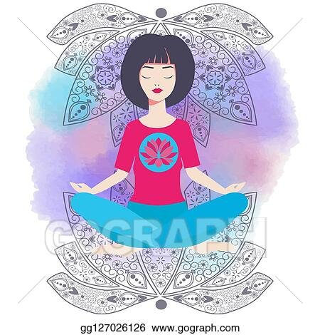 vector art  yoga girl in lotus position and watercolor