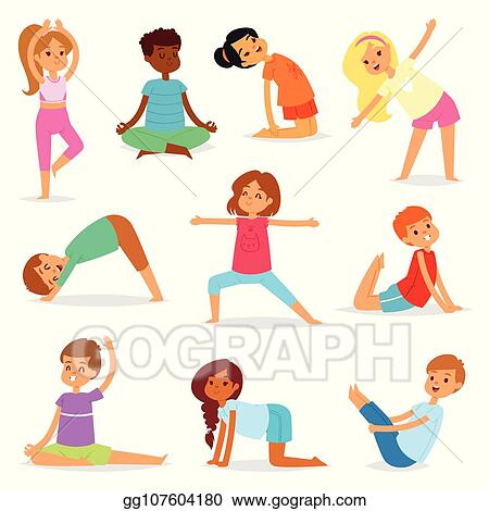 Vector Stock Yoga Kids Vector Young Child Yogi Character Training Sport Exercise Illustration Healthy Lifestyle Set Of Cartoon Boys And Girls Wellness Activity Of Stretching Meditation Isolated On White Background Clipart