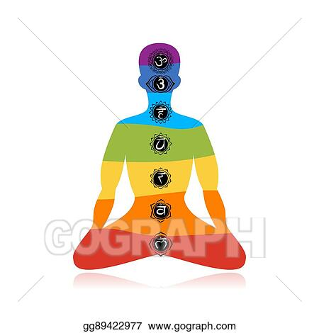 eps illustration  yoga lotus pose with chakras for your