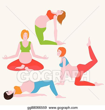 Vector Illustration Yoga Poses For Pregnant Women Future Mother Healthy Lifestyle Exercises Set Baby Care Motherhood And Fitness Eps Clipart Gg88066559 Gograph