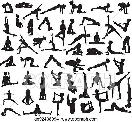 Vector Art Yoga Poses Silhouettes Clipart Drawing Gg92438994 Gograph