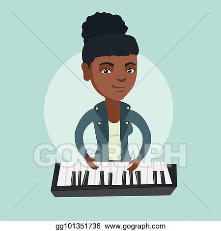 Vector Clipart - Young african-american woman playing the piano