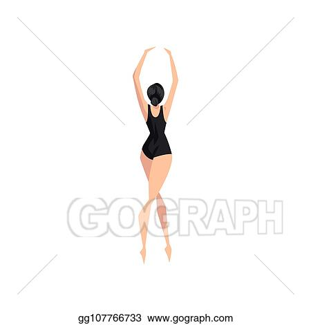 29e24f09efc3 Vector Illustration - Young ballerina dancing in black leotard ...
