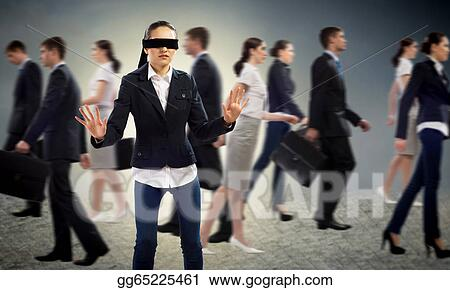 c59946dcf26 Stock Illustration - Young blindfolded woman. Clipart Drawing ...