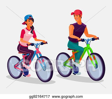 Drawing Young Boy And Girl Riding Bicycles Clipart Drawing