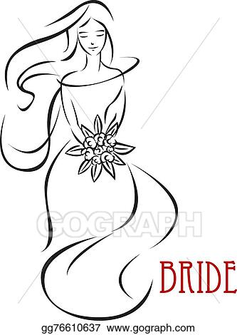 Eps Vector Young Bride With Flowers Invitation Template Stock Clipart Illustration Gg76610637 Gograph,Wedding Sunflower Yellow Flower Girl Dresses