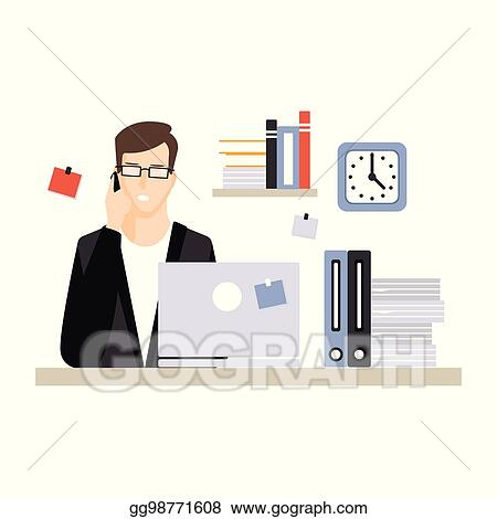 Vector Art - Young businessman character sitting at the