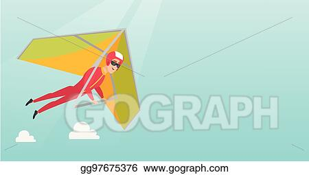 Vector Clipart - Young caucasian man flying on hang-glider