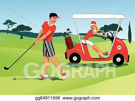 Vector Art - Young couple playing golf. Clipart Drawing gg64911556 on url clipart, doc clipart, sql clipart,