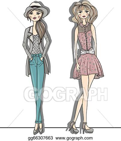 c8692e65b4e6 EPS Vector - Young fashion girls illustration. Stock Clipart ...