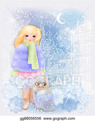 young girl and fairytale owl in the snowy city christmas and new year illustration winter in the city watercolor style