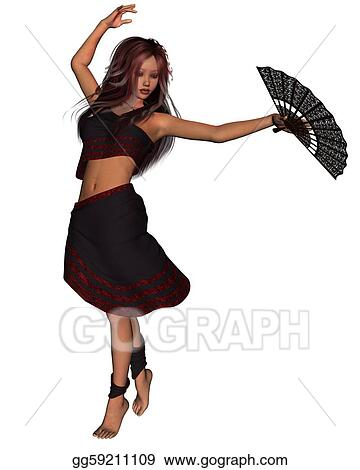 e7a95b99d357 Stock Illustrations - Young gypsy dancer. Stock Clipart gg59211109 ...