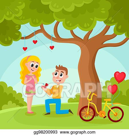Vector Stock Young Man Proposing To Pretty Girl In Park Stock
