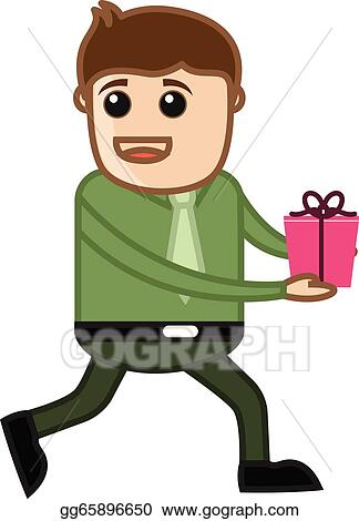 Young Man Running With Gift Box