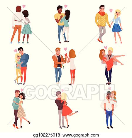 Vector Clipart Young Men And Women Characters In Love Hugging Set