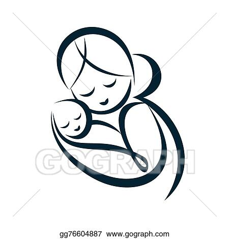 Vector Stock Young Mom Hugs Her Baby Stylized Vector Symbol