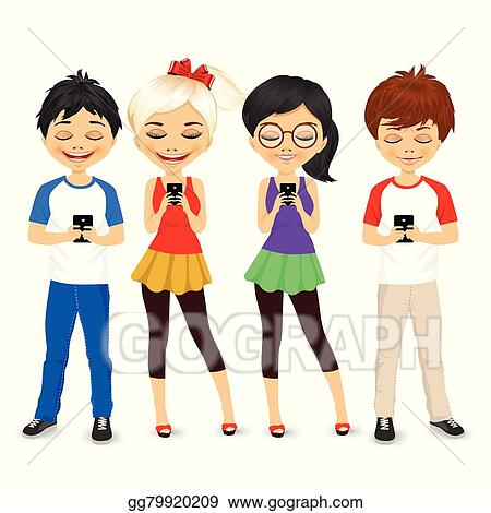 vector art young people using mobile phones clipart drawing rh gograph com Young People Working Young People Images Graphics