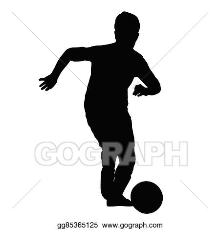 vector stock young soccer player silhouette kid plays soccer or football front view football player is taking off with the ball