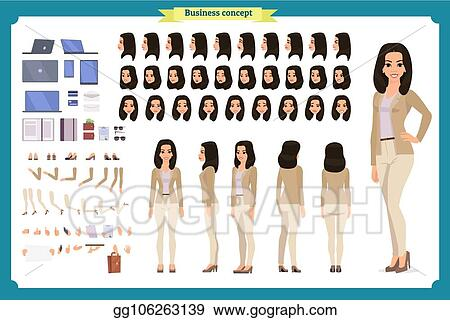 Clip Art Vector Young Woman Casual Clothes Character