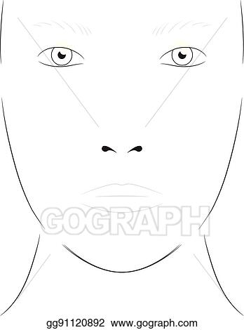 Vector Art - Young woman. face chart makeup artist blank. template ...