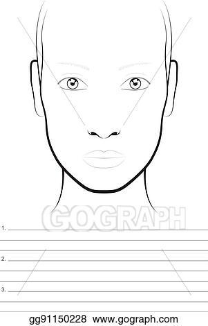 Vector Art Young Woman Face Chart Makeup Artist Blank