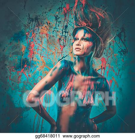 Stock Images Young Woman Muse With Creative Body Art And Hairdo Stock Photography Gg68418011 Gograph