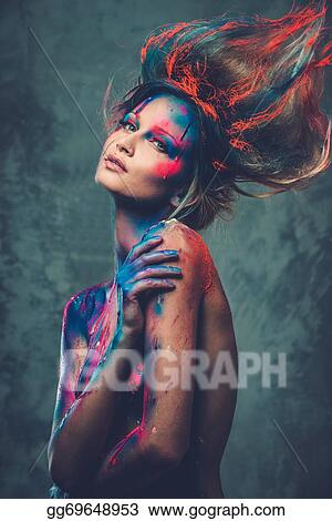 Stock Images Young Woman Muse With Creative Body Art And Hairdo Stock Photography Gg69648953 Gograph