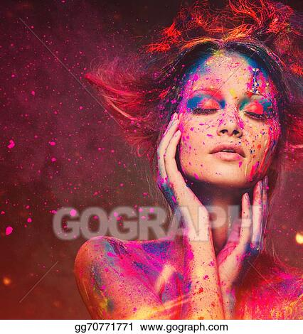 Stock Images Young Woman Muse With Creative Body Art And Hairdo Stock Photography Gg70771771 Gograph