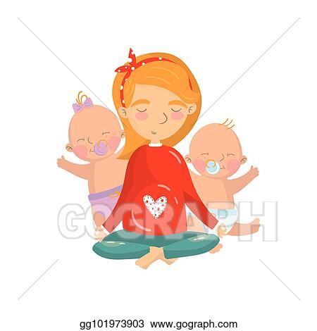Slikovni rezultat za young woman relaxing in lotus yoga with her little kids