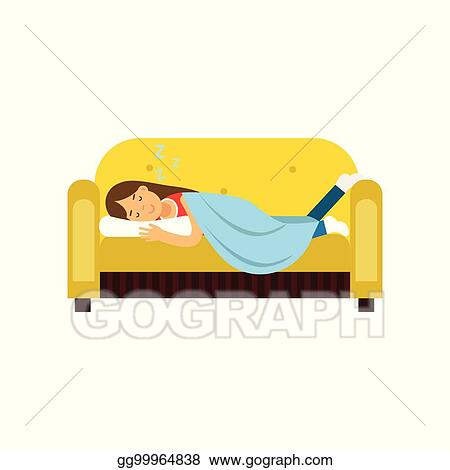 Prime Vector Stock Young Woman Sleeping On The Sofa Under Unemploymentrelief Wooden Chair Designs For Living Room Unemploymentrelieforg