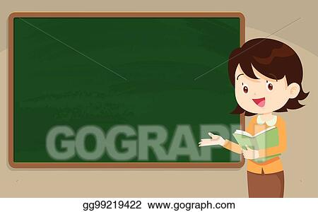 vector stock young woman teacher in front of chalkboard clipart rh gograph com Cute Clip Art for Teachers Chalkboard Borders Clip Art for Teachers