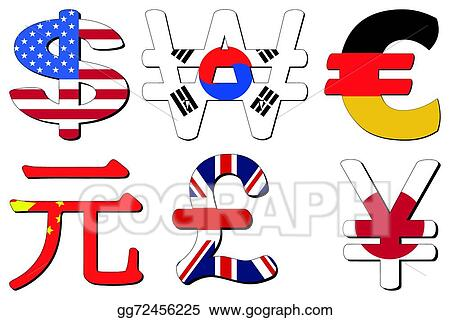 Vector Stock Yuan Yen Euro Symbol Clipart Illustration Gg72456225