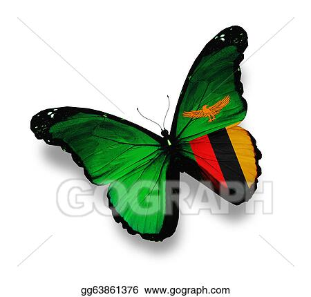 Stock Illustration - Zambia flag butterfly, isolated on