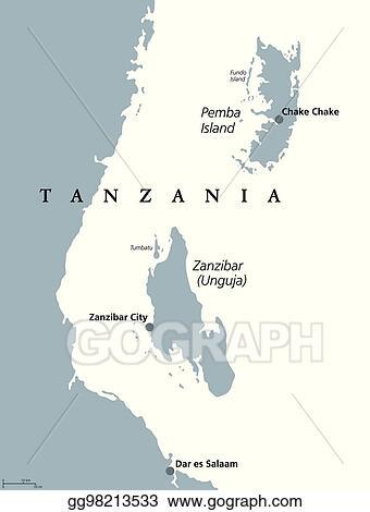 Eps Illustration Zanzibar And Pemba Tanzania Political Map Vector