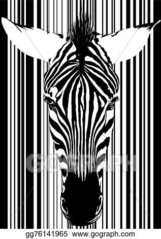 Barcode cute. Vector clipart zebra face