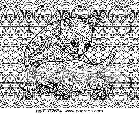 Vector Illustration Zendoodle Coloring Book For Adults Mother Cat