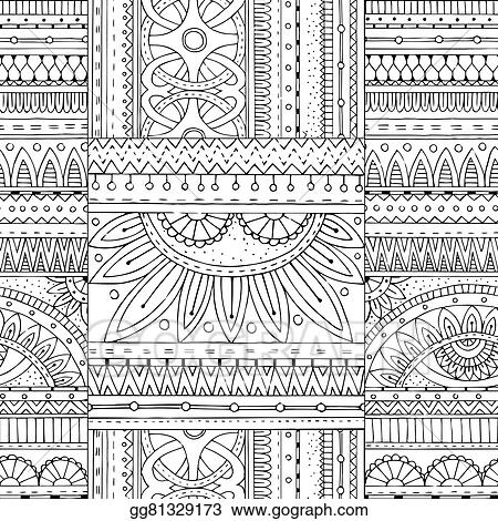 Seamless Vector Ethnic Pattern Can Be Used For Wallpaper Fills Coloring Books And Pages Kids Adults Black White