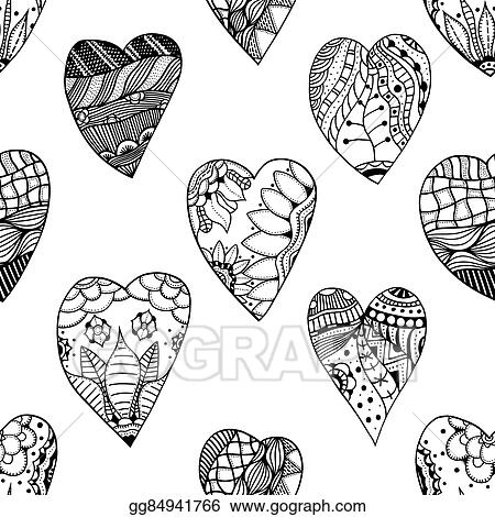 Zentangle Heart Coloring Page • FREE Printable PDF from PrimaryGames | 470x450