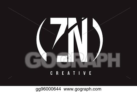 Vector Stock Zn Z N White Letter Logo Design With Black Background