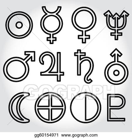 Vector Stock Zodiac And Astrology Symbols Of The Clipart Illustration Gg60154971 Gograph