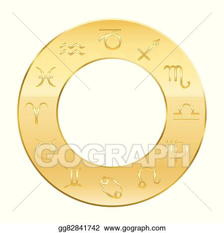 Vector Clipart Zodiac Astrology Golden Circle Vector Illustration Gg82841742 Gograph