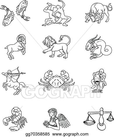 Vector Art - Zodiac horoscope astrology signs  EPS clipart