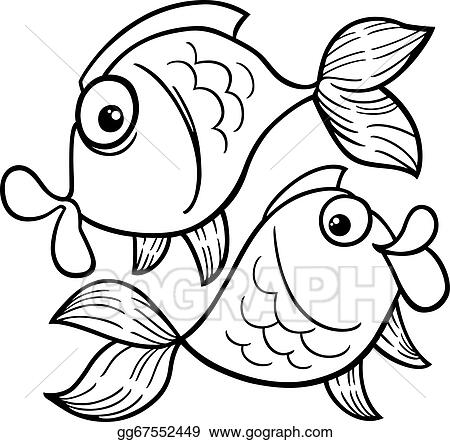 Vector Stock Zodiac Pisces Or Fish Coloring Page Clipart
