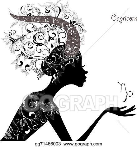 Clip Art Vector Zodiac Sign Capricorn Fashion Girl Stock Eps